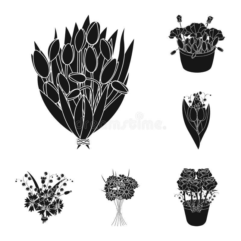 Μια ανθοδέσμη των φρέσκων μαύρων εικονιδίων λουλουδιών στην καθορισμένη συλλογή για το σχέδιο Διανυσματικός Ιστός αποθεμάτων συμβ ελεύθερη απεικόνιση δικαιώματος
