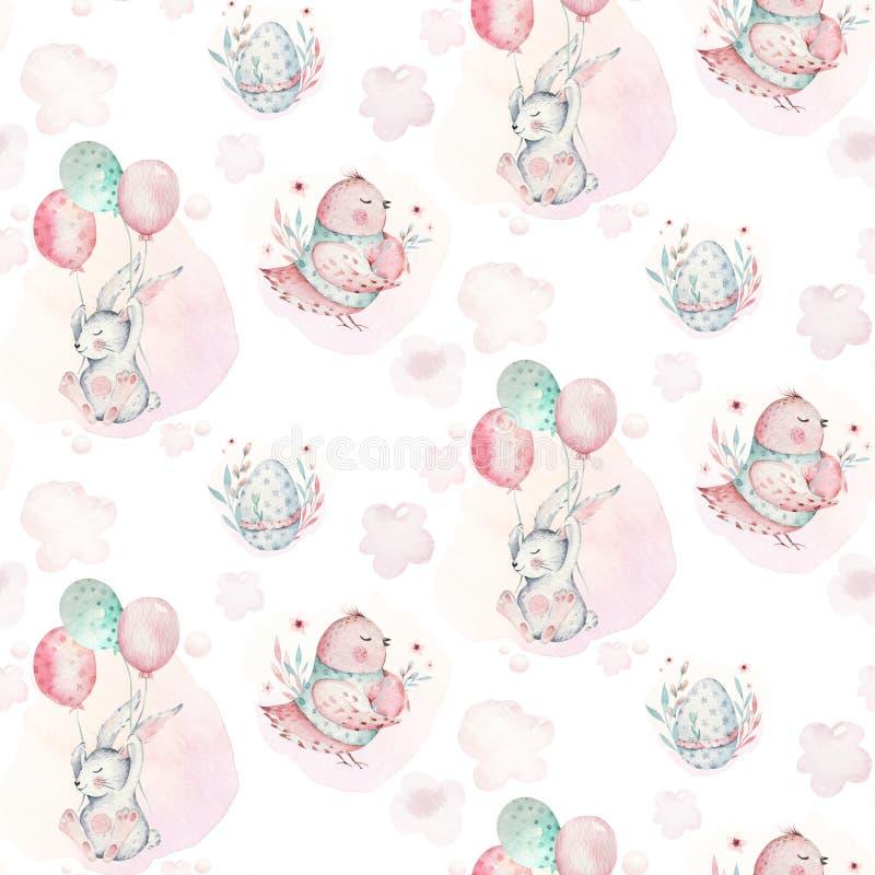Μια απεικόνιση άνοιξη watercolor του χαριτωμένου λαγουδάκι μωρών Πάσχας Ζωικό άνευ ραφής ρόδινο σχέδιο κινούμενων σχεδίων κουνελι απεικόνιση αποθεμάτων