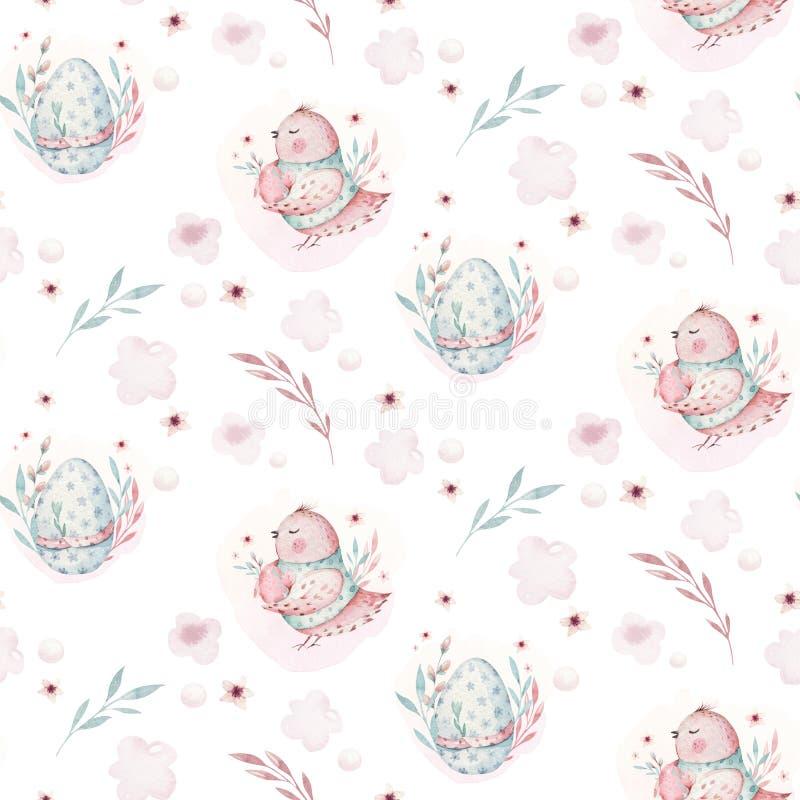 Μια απεικόνιση άνοιξη watercolor του χαριτωμένων πουλιού και των αυγών μωρών Πάσχας Ζωικό άνευ ραφής ρόδινο σχέδιο υφάσματος κινο ελεύθερη απεικόνιση δικαιώματος