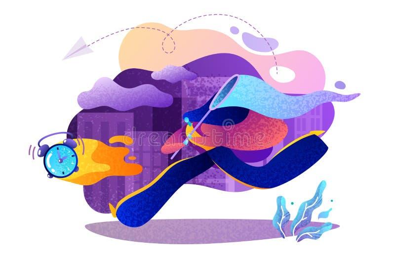 Μια απεικόνιση για τη χρονική διαχείριση στη σύγχρονη ζωή διανυσματική απεικόνιση