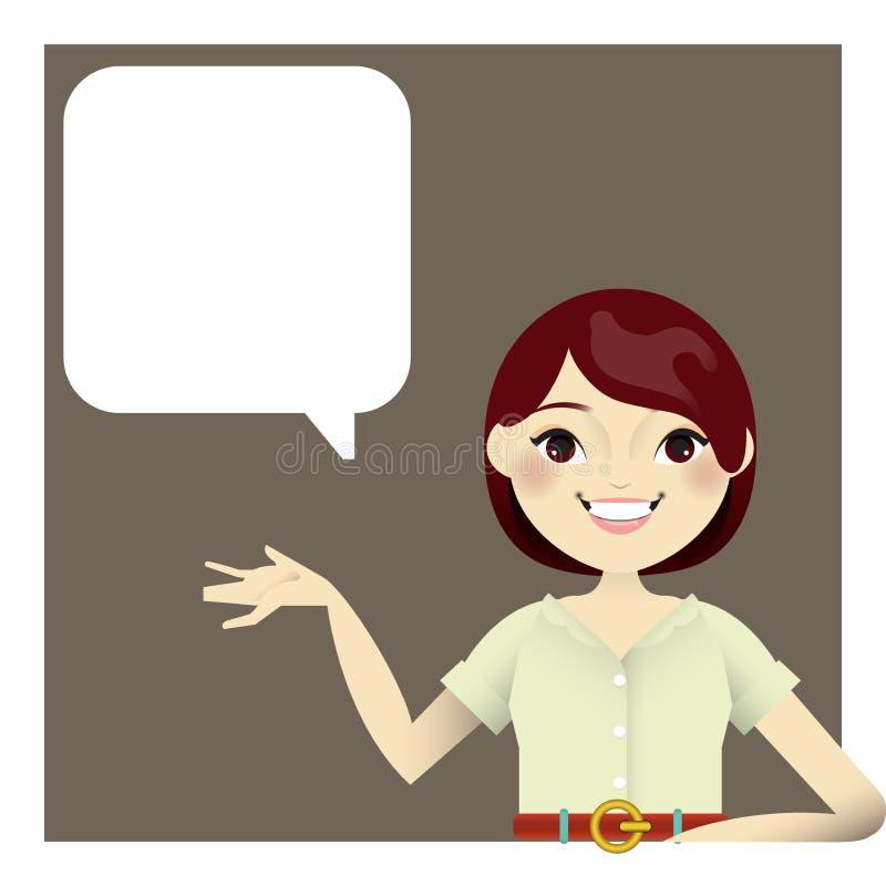 Μια απεικόνιση ενός κοριτσιού με το κενό χέρι για να επιδείξει ένα προϊόν ή να εισαγάγει κάτι απεικόνιση αποθεμάτων