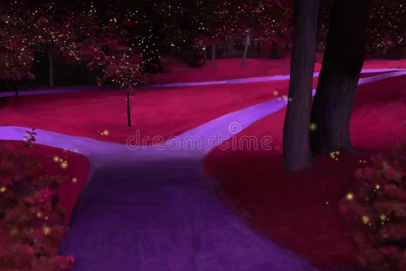Πάρκο τή νύχτα ελεύθερη απεικόνιση δικαιώματος