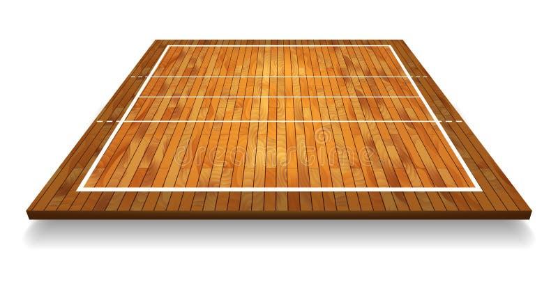 Μια απεικόνιση μιας εναέριας άποψης ενός σκληρού ξύλου με το δικαστήριο πετοσφαίρισης προοπτικής Διανυσματικό EPS 10 απεικόνιση αποθεμάτων