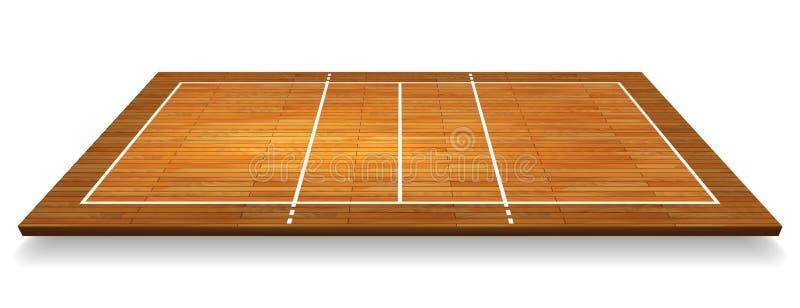 Μια απεικόνιση μιας εναέριας άποψης ενός σκληρού ξύλου με το δικαστήριο πετοσφαίρισης προοπτικής Διανυσματικό EPS 10 διανυσματική απεικόνιση