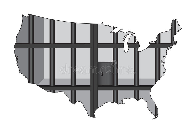 ΗΠΑ - το κεφάλαιο φυλακών του κόσμου απεικόνιση αποθεμάτων