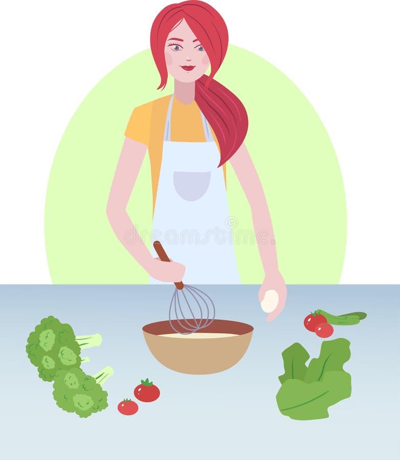 Μια απεικόνιση της μαγειρεύοντας γυναίκας διανυσματική απεικόνιση