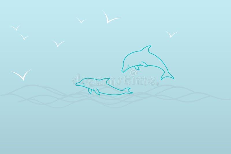 Μια απλή απεικόνιση μιας θάλασσας στις σκιές μπλε †«δύο δελφίνια στα κύματα και seagulls ελεύθερη απεικόνιση δικαιώματος