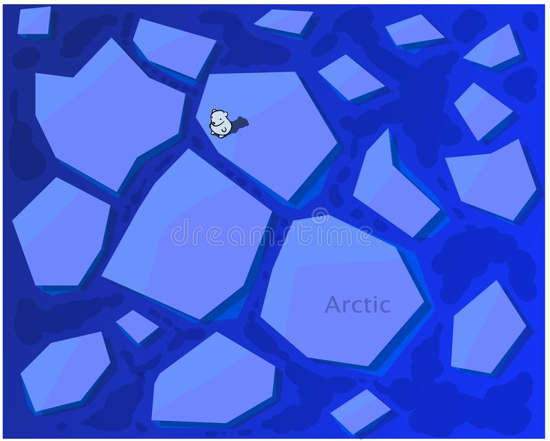 Μια απομονωμένη αρκούδα στέκεται σε έναν μεγάλο επιπλέον πάγο πάγου στη μέση της Αρκτικής διανυσματική απεικόνιση