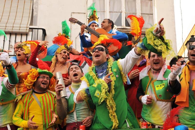 Μια απόδοση χορωδιών της οδού, καρναβάλι του Καντίζ, Ανδαλουσία, Spaina στοκ φωτογραφία