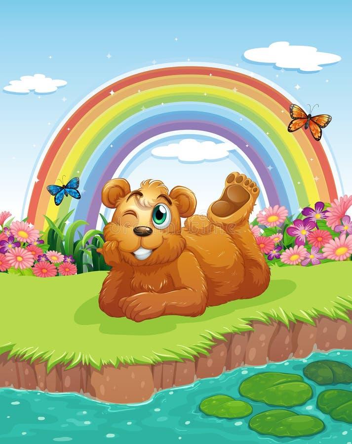Μια αρκούδα στο riverbank απεικόνιση αποθεμάτων