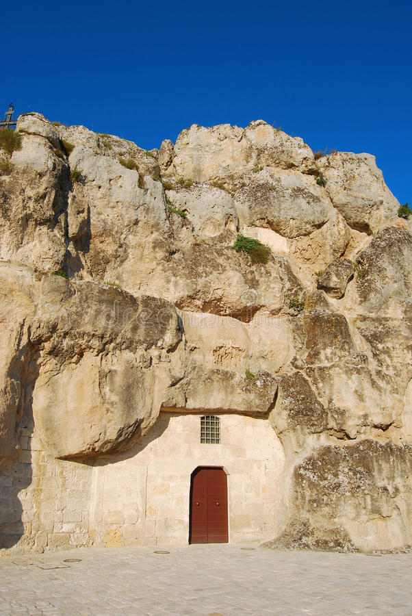 Μια αρχαία εκκλησία σπηλιών $matera - του Βασιλικάτα - της Ιταλίας στοκ φωτογραφία