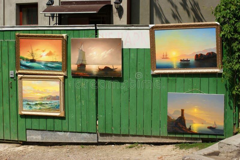 Μια αυτοσχεδιασμένη έκθεση των έργων ζωγραφικής στοκ εικόνες με δικαίωμα ελεύθερης χρήσης