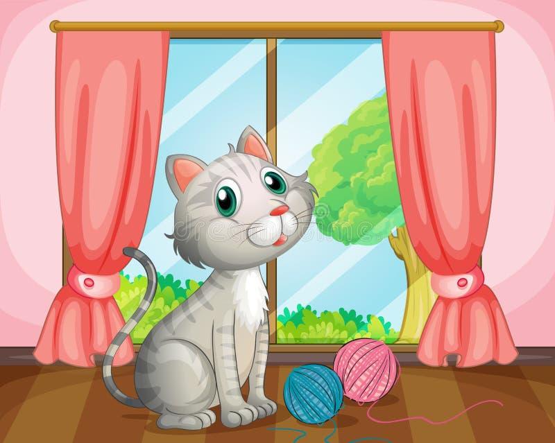 Μια γάτα κοντά στο παράθυρο διανυσματική απεικόνιση