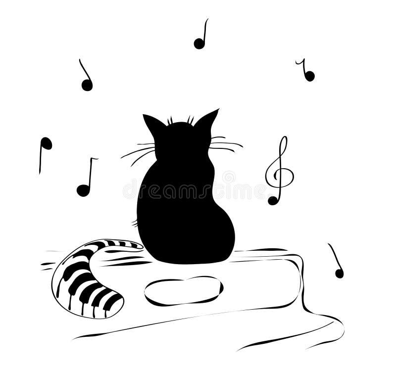 Μια γάτα που αγαπά πολύ της μουσικής διανυσματική απεικόνιση