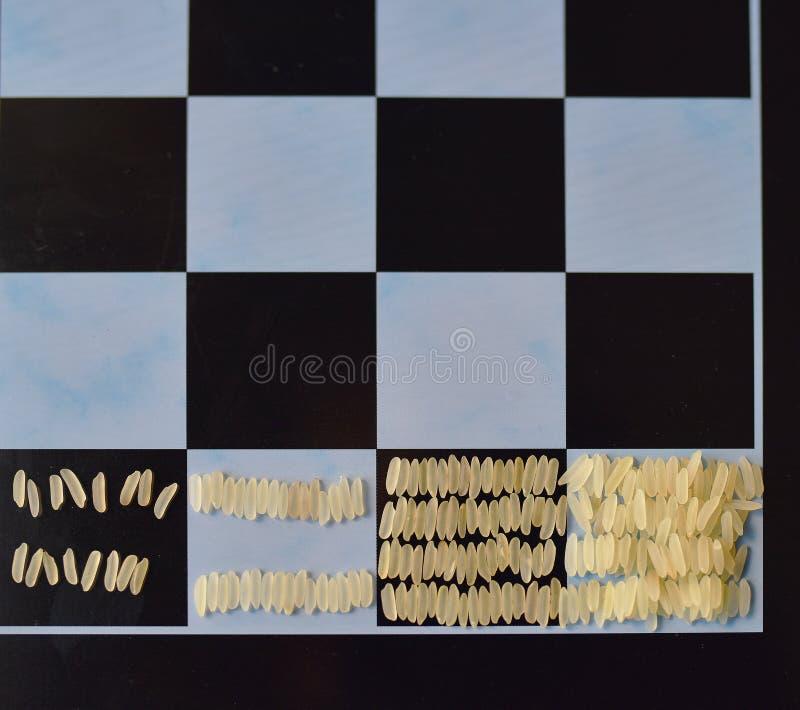 Μια γεωμετρική πρόοδος του ρυζιού σε έναν πίνακα σκακιού στοκ φωτογραφία με δικαίωμα ελεύθερης χρήσης