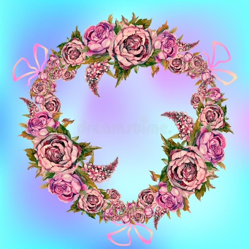 Μια γιρλάντα των λουλουδιών watercolor Πασχαλιές τριαντάφυλλων Peonies r Γαμήλιο στεφάνι απεικόνιση αποθεμάτων