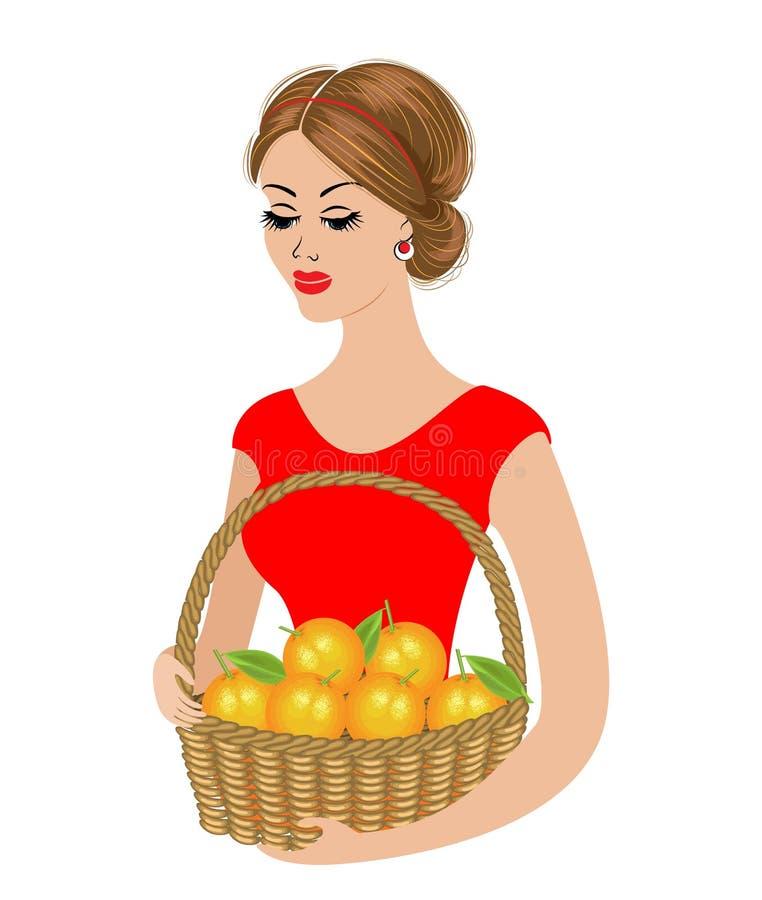 Μια γλυκιά κυρία κρατά ένα καλάθι των πορτοκαλιών Ώριμα και γλυκά φρούτα Το κορίτσι είναι νέο και όμορφο r ελεύθερη απεικόνιση δικαιώματος