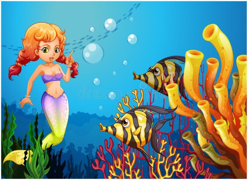 Μια γοργόνα που προσέχει τα δύο ψάρια απεικόνιση αποθεμάτων