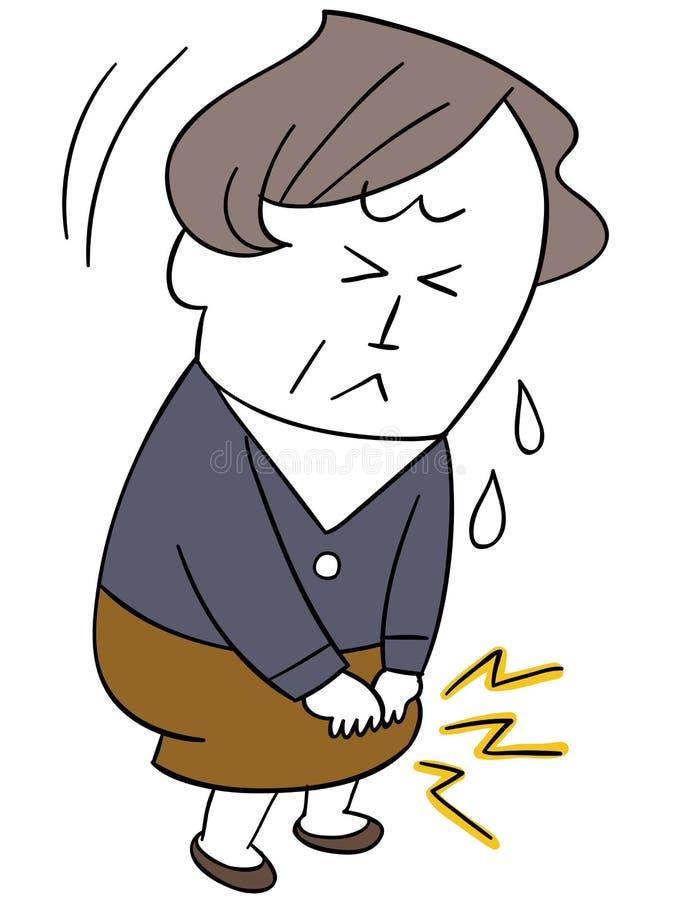 Μια γυναίκα έχει έναν πόνο γονάτων απεικόνιση αποθεμάτων