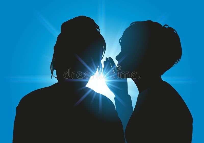 Μια γυναίκα εμπιστεύεται στο φίλο της, που μιλά σε την διακριτικά διανυσματική απεικόνιση
