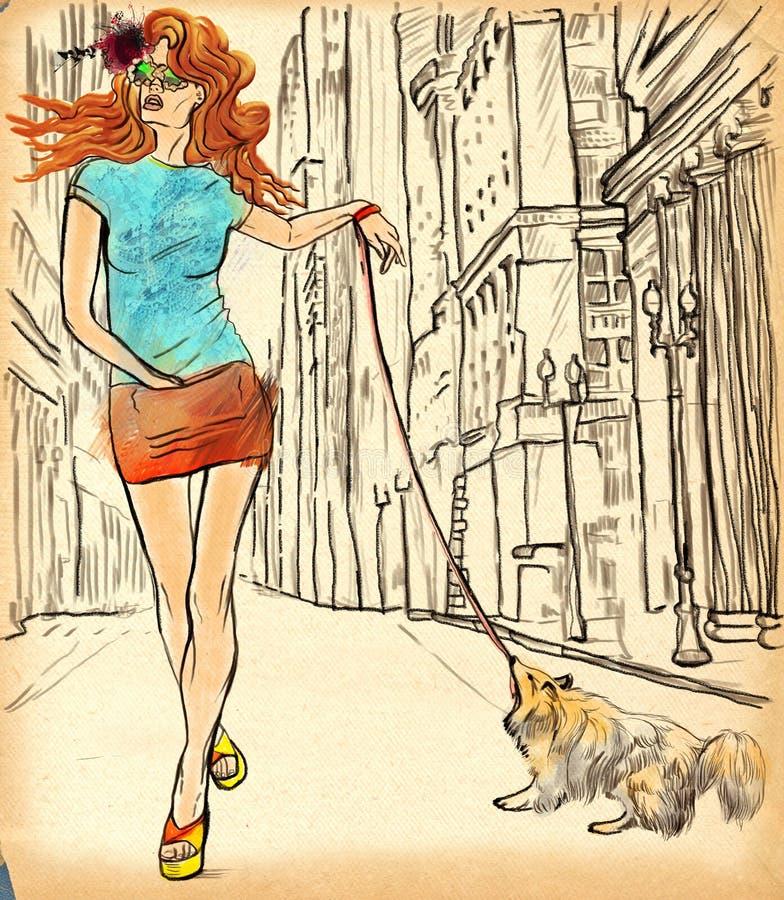 Μια γυναίκα μέσω της οδού συρμένος εικονογράφος απεικόνισης χεριών ξυλάνθρακα βουρτσών ο σχέδιο όπως το βλέμμα κάνει την κρητιδογ διανυσματική απεικόνιση