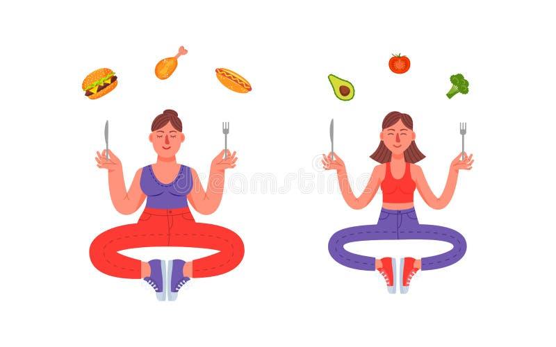 Μια γυναίκα με ένα υγιές γεύμα και μια γυναίκα με ένα άχρηστο φαγητό διανυσματική απεικόνιση