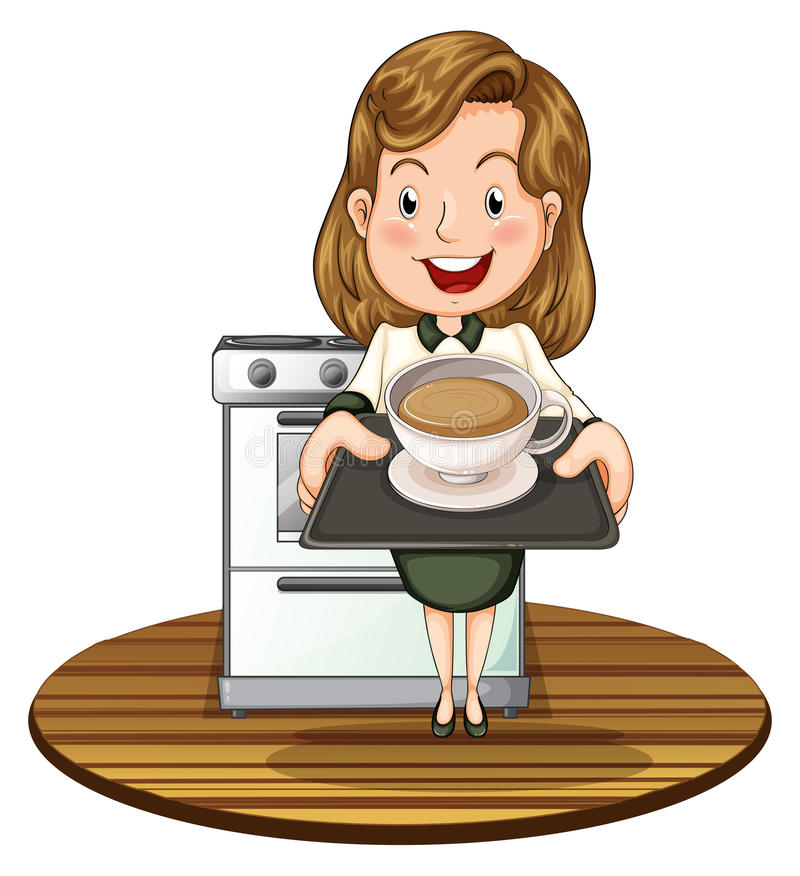 Μια γυναίκα που κρατά έναν δίσκο με ένα ζεστό ποτό απεικόνιση αποθεμάτων