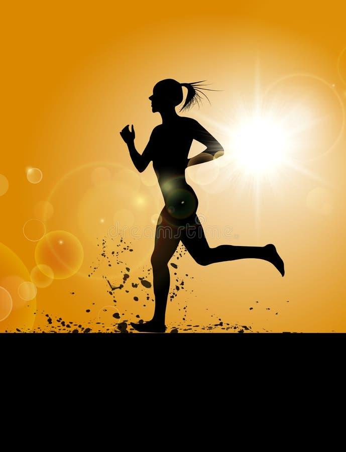 Μια γυναίκα που τρέχει στον τομέα απεικόνιση αποθεμάτων
