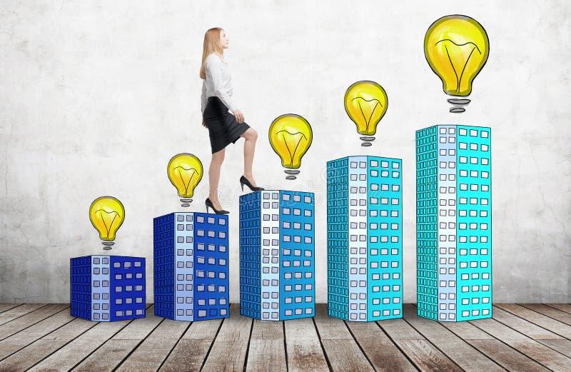 Μια γυναίκα στα επίσημα ενδύματα ανεβαίνει τη χρησιμοποίηση σκαλοπάτια που αποτελούνται από τα σπίτια με τα lightbulbs Μια έννοια στοκ εικόνες με δικαίωμα ελεύθερης χρήσης