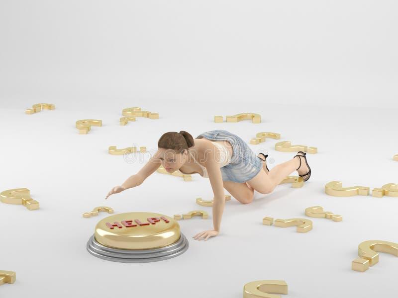 Μια γυναίκα ωθεί το κουμπί διανυσματική απεικόνιση