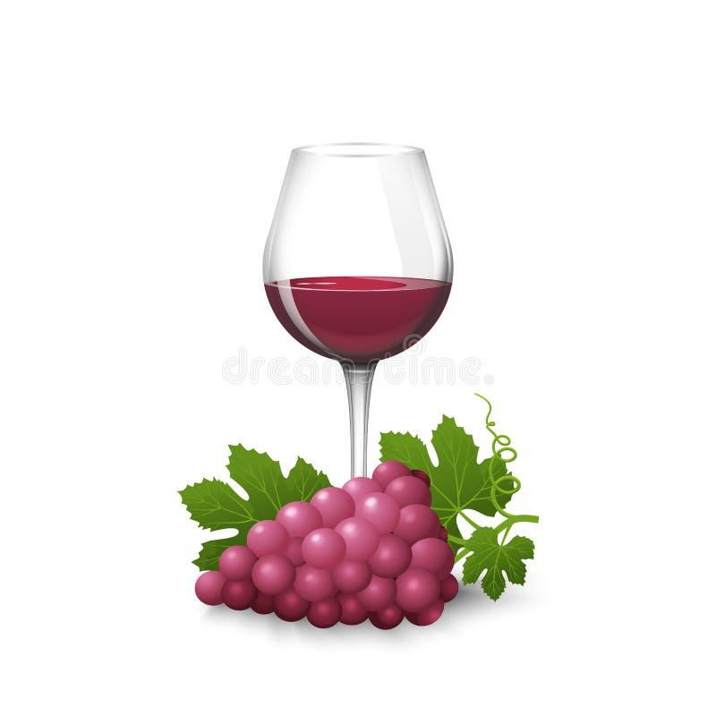 Μια δέσμη των σταφυλιών με τα φύλλα και ένα ποτήρι του κόκκινου κρασιού ελεύθερη απεικόνιση δικαιώματος