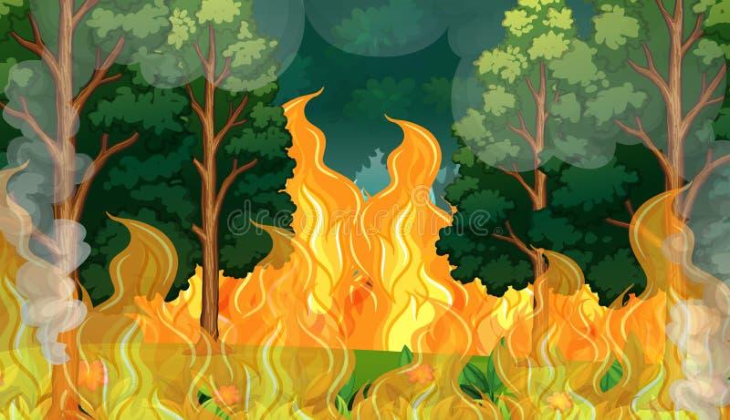 Μια δασική καταστροφή πυρκαγιών διανυσματική απεικόνιση