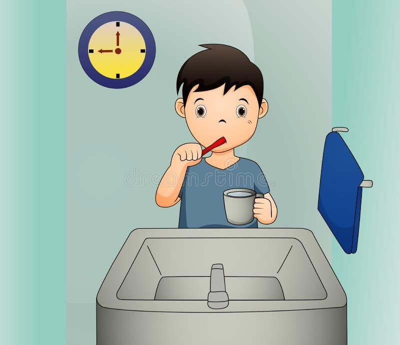 Μια διανυσματική απεικόνιση ενός αγοριού που βουρτσίζει τα δόντια του απεικόνιση αποθεμάτων