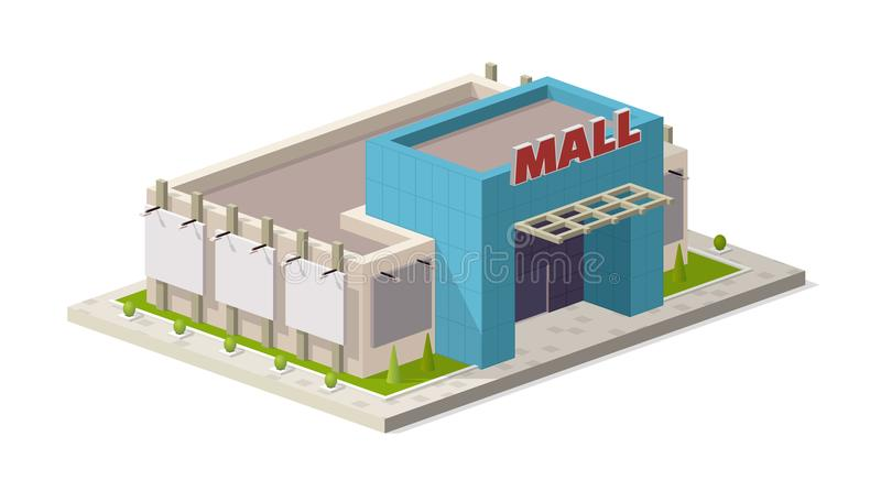 Μια διανυσματική απεικόνιση ενός σύγχρονου εμπορικού κέντρου Isometric απεικόνιση οικοδόμησης λεωφόρων αγορών διανυσματική απεικόνιση