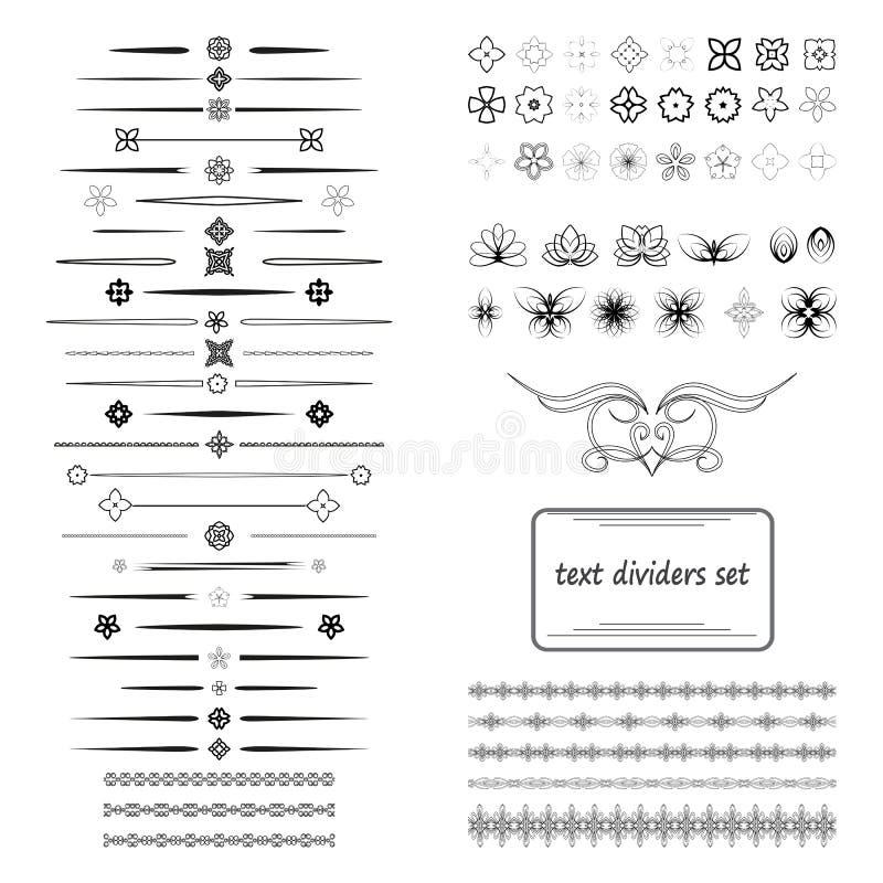 Μια διαφορετική συλλογή των διανυσματικών διαιρετών, προφυλακτήρες, πλαίσια, διακοσμήσεις διανυσματική απεικόνιση