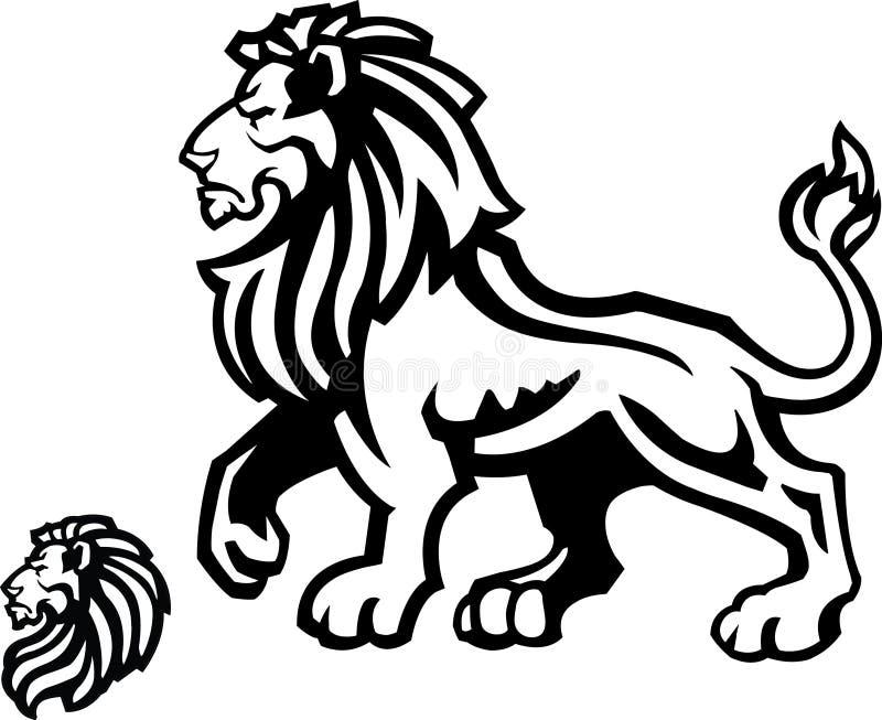 Σχεδιάγραμμα μασκότ λιονταριών στο λευκό διανυσματική απεικόνιση