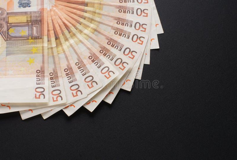 Μια εικόνα κινηματογραφήσεων σε πρώτο πλάνο 50 ευρο- τραπεζογραμματίων χρημάτων στοκ εικόνες με δικαίωμα ελεύθερης χρήσης