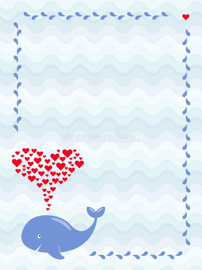 Μια εικόνα μιας χαριτωμένης φάλαινας κινούμενων σχεδίων με την πηγή καρδιών στο πλαίσιο του νερού μειώνεται Χαιρετισμός, ντους μω διανυσματική απεικόνιση