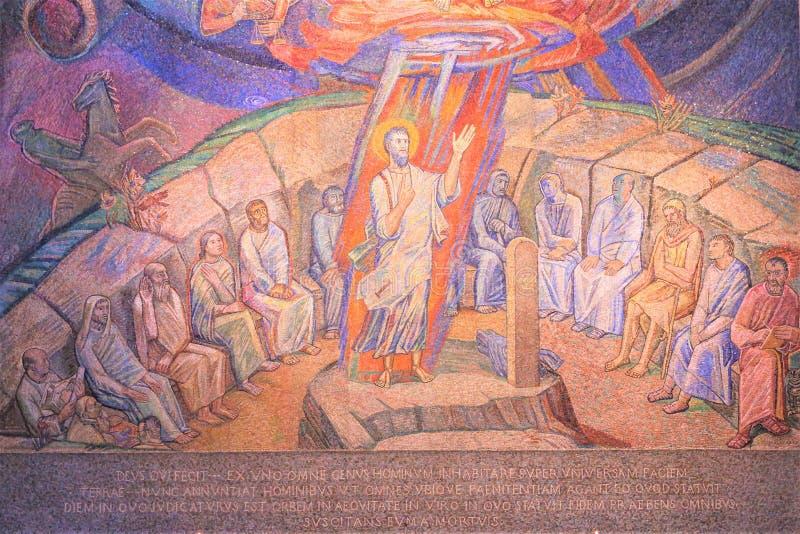 Μια εικόνα μωσαϊκών του Ιησού και των αποστόλων στοκ εικόνες