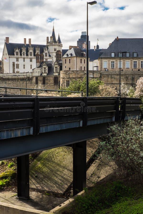 Μια ειδική άποψη του κάστρου του Ducs της Βρετάνης στη Νάντη Γαλλία στοκ εικόνες με δικαίωμα ελεύθερης χρήσης