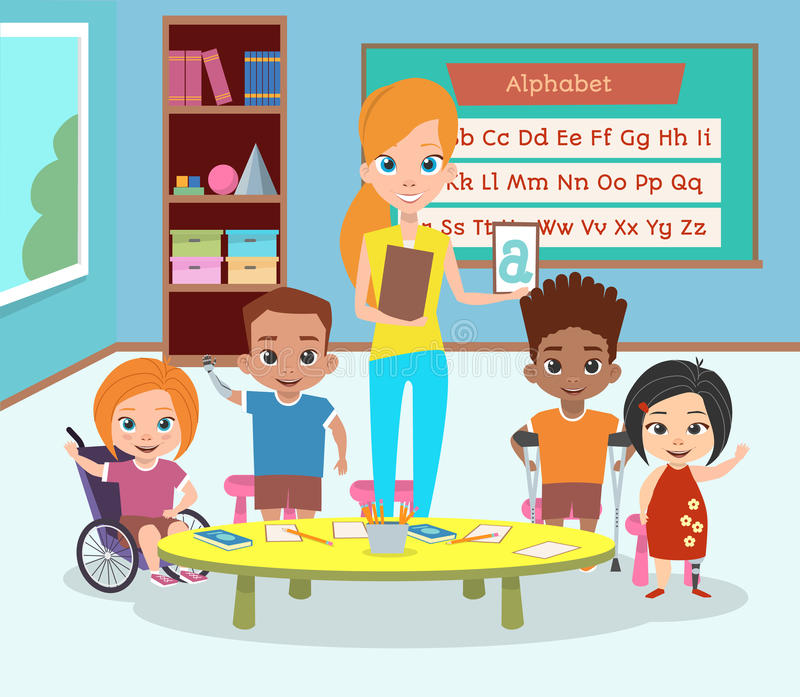 Μια ειδική κατηγορία με ειδικές ανάγκες παιδιών E στοκ εικόνες με δικαίωμα ελεύθερης χρήσης