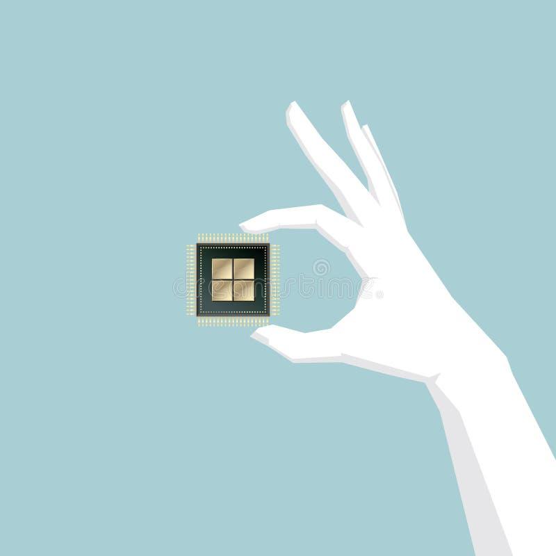 Μια εκμετάλλευση ΚΜΕ, τσιπ υπολογιστή, χέρι χεριών είναι λευκιά διανυσματική απεικόνιση