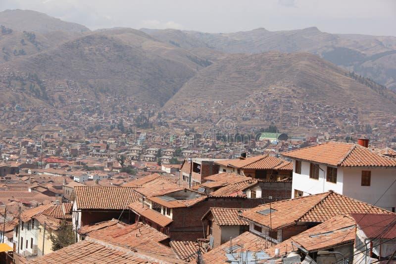 Μια εναέρια άποψη πέρα από Cuzco στοκ εικόνες