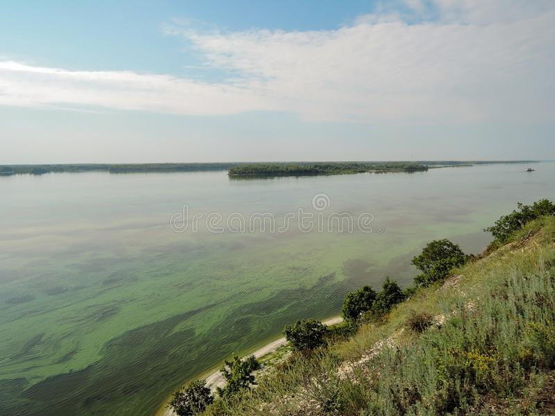 Μια εναέρια άποψη του ποταμού Πράσινα άλγη στην επιφάνεια του νερού ανθίζοντας νερό συνεπεία της δομής φραγμάτων και στοκ εικόνα