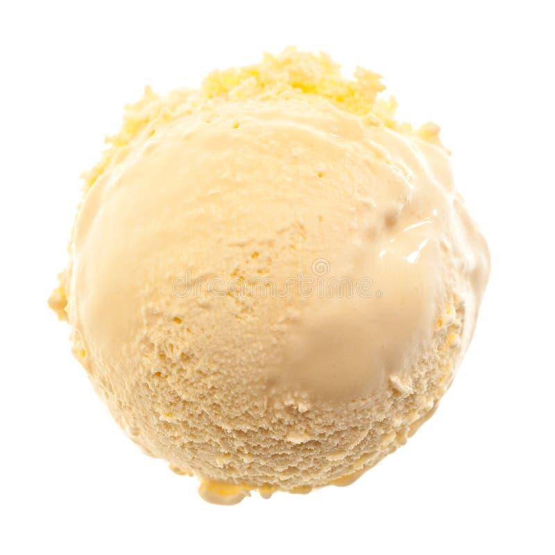 Μια ενιαία σέσουλα του παγωτού βανίλιας από τον αέρα που απομονώνεται στο άσπρο υπόβαθρο στοκ φωτογραφίες με δικαίωμα ελεύθερης χρήσης