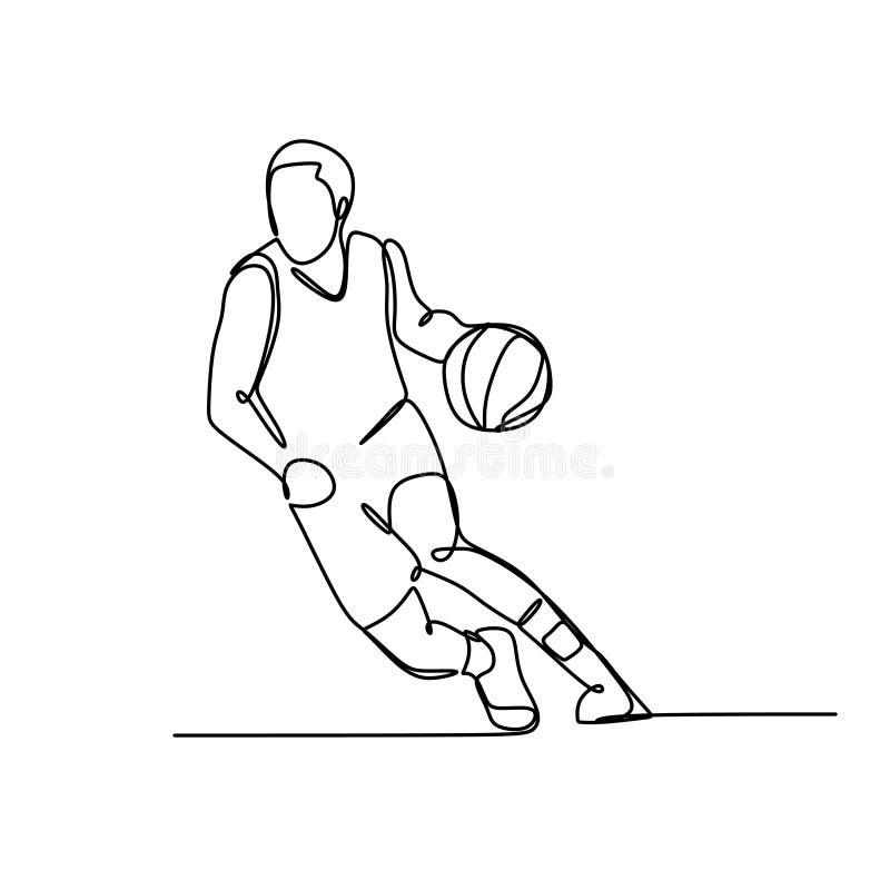 Μια ενιαία συρμένη συνεχής γραμμών αγοριών παιχνιδιού σκιαγραφία εικόνων καλαθοσφαίρισης hand-drawn Τέχνη γραμμών διανυσματική απεικόνιση