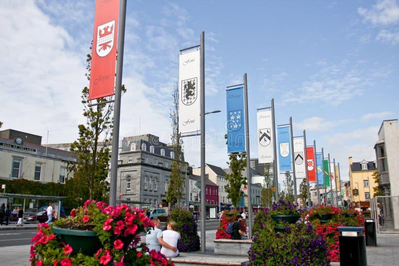 Μια επίδειξη των δεκατεσσάρων φυλετικών σημαιών Eyre στην πλατεία, Galway στοκ εικόνα με δικαίωμα ελεύθερης χρήσης