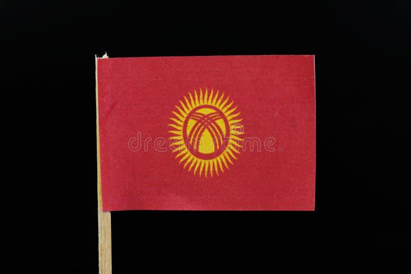 Μια επίσημη σημαία του Κιργιστάν στη οδοντογλυφίδα στο μαύρο υπόβαθρο Ένας κόκκινος τομέας που χρεώνεται με έναν κίτρινο ήλιο με  στοκ φωτογραφία με δικαίωμα ελεύθερης χρήσης