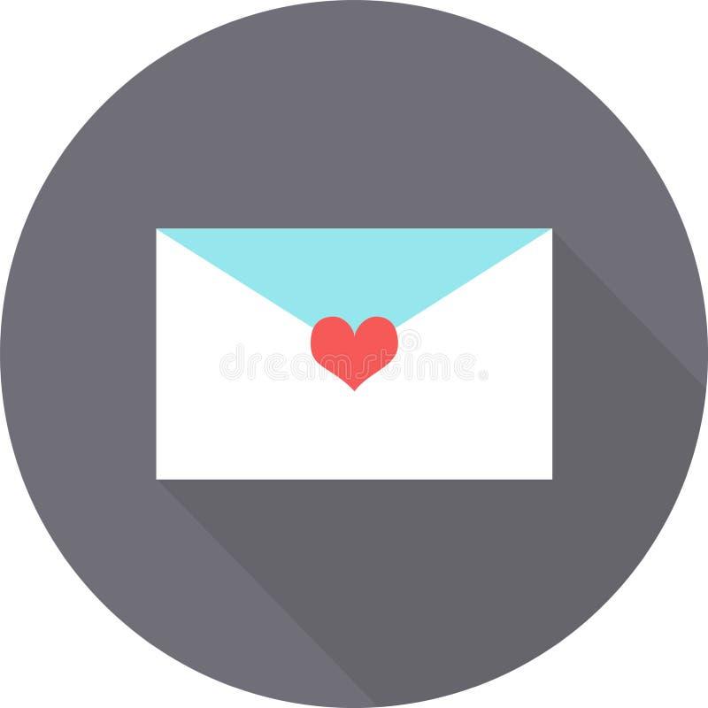 Μια επιστολή στο επίπεδο εικονίδιο ημέρας βαλεντίνων ` s στο γκρίζο υπόβαθρο με τη σκιά στοκ εικόνες με δικαίωμα ελεύθερης χρήσης