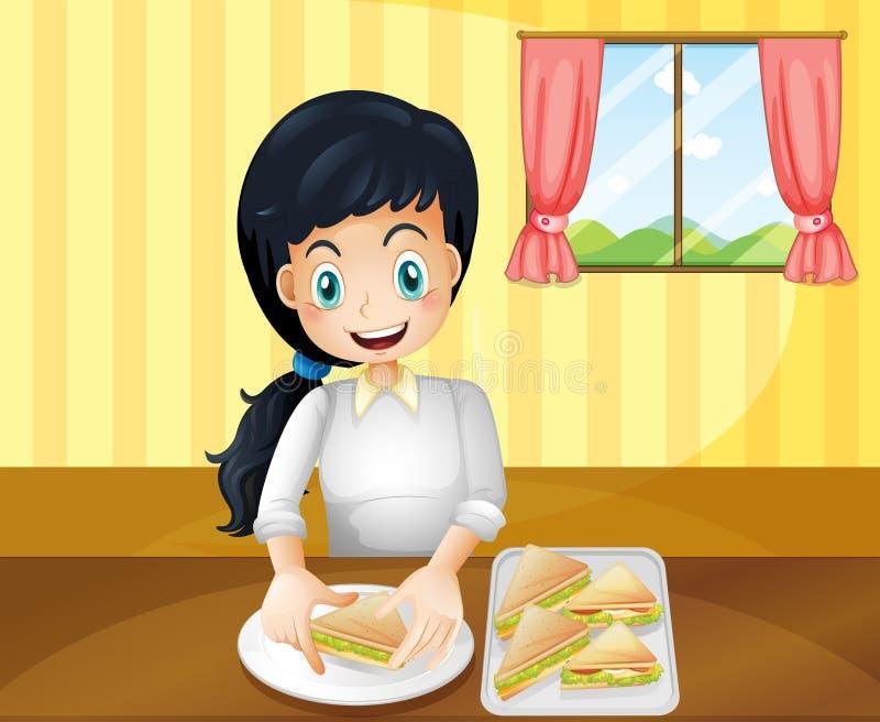 Μια ευτυχής γυναίκα που προετοιμάζει τα σάντουιτς ελεύθερη απεικόνιση δικαιώματος